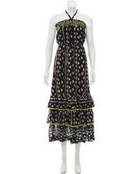 Warm - Strapless Ruffled Printed Midi Dress W/ Tags - Lyst