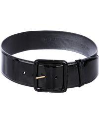 2f737d4f8c540 Lyst - Miu Miu Miu Patent Leather Ruffled Belt in Black
