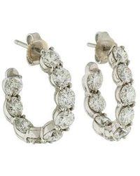 998920dff Tiffany & Co. - Platinum Diamond Inside-out Hoop Earrings White - Lyst