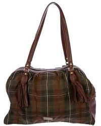 Boutique Moschino - Studded Plaid Shoulder Bag Olive - Lyst