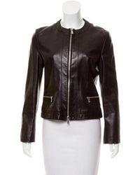 Michael Kors - Collarless Leather Jacket Black - Lyst