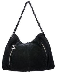 cb32ca83a58 Lyst - Chanel Vintage Nappa Chain Hobo Black in Metallic
