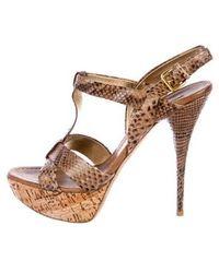 036f0a6f76d Lyst - Miu Miu Miu Leather Studded Platform Sandals in Brown