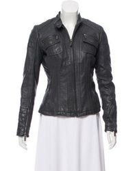 MICHAEL Michael Kors - Michael Kors Leather Moto Jacket Grey - Lyst