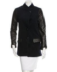 VEDA - Leather-accented Wool Coat Navy - Lyst