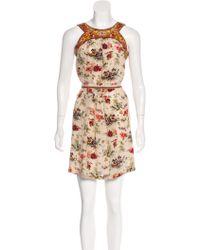 Jean Paul Gaultier - Floral Print Mini Dress Beige - Lyst