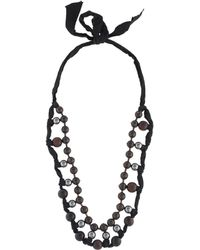 Lanvin - Faux Pearl & Wood Bead Collar Necklace Silver - Lyst
