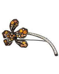Kenneth Jay Lane - Crystal Flower Brooch Silver - Lyst