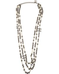 Chanel - Faux Pearl Cc Multistrand Necklace Silver - Lyst
