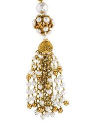 Moschino - Faux Pearl Tassel Pendant Necklace Gold - Lyst