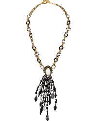 Erickson Beamon - Faux Pearl, Cat's Eye Quartz & Crystal Beaded Pendant Necklace Gold - Lyst