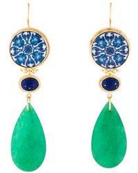 Tagliamonte - Dyed Quartzite & Ceramic Drop Earrings Gold - Lyst