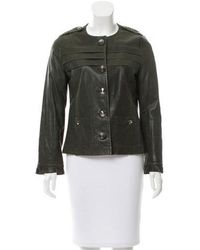 Peter Som - Lace-up Accented Leather Jacket - Lyst
