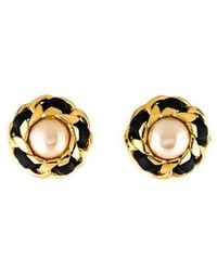 Chanel - Faux Pearl & Leather Clip-on Earrings Gold - Lyst