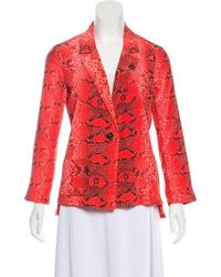 Elizabeth and James - Animal Print Silk Blazer Coral - Lyst