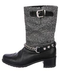 Stuart Weitzman - Tweed And Leather Ankle Boots Black - Lyst