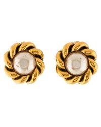 Chanel - Faux Pearl Clip-on Earrings Gold - Lyst