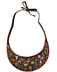 KENZO - Multistone Leather Bib Necklace - Lyst