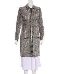 Chanel - Embellished Tweed Coat Beige - Lyst