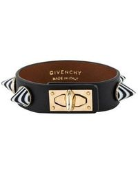 Givenchy - Cone Studded Leather Shark Tooth Bracelet Gold - Lyst