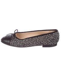 Chanel - Tweed Cap-toe Flats - Lyst