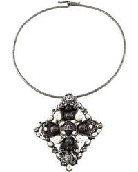 Chanel - Faux Pearl, Resin & Crystal Choker Silver - Lyst