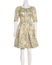 Vineet Bahl - Jacquard A-line Dress Tan - Lyst