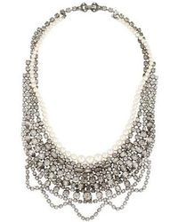 Tom Binns - Pearl & Scalloped Crystal Collar Necklace Silver - Lyst