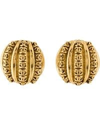 Chanel - Cc Dome Earrings Gold - Lyst