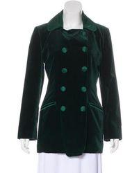 Carven - Velvet Double-breasted Coat - Lyst