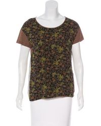 Dries Van Noten - Silk-paneled Floral T-shirt Olive - Lyst