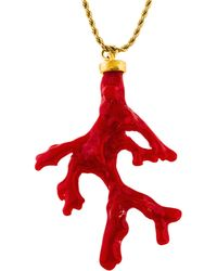 Kenneth Jay Lane - Resin Coral Branch Pendant Necklace Gold - Lyst