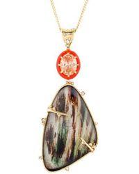 Alexis Bittar - Satellite Crystal & Iridescent Wood Grain Pendant Necklace Gold - Lyst
