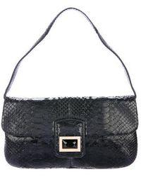 Kara Ross - Python Flap Shoulder Bag Black - Lyst
