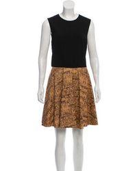 8bbf8f8fce2d Diane von Furstenberg - Jeannie Leather-accented Dress Black - Lyst