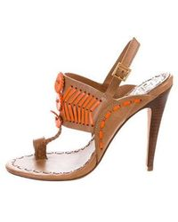 4d2748d5de92ce Tory Burch - Embroidered Leather Sandals Tan - Lyst