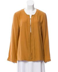 Giulietta - Silk Long Sleeve Top Brown - Lyst