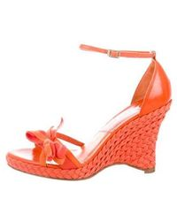 Dior - Bow-accented Wedge Espadrilles Orange - Lyst