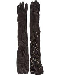 Lanvin - Swarovski Leather Gloves - Lyst