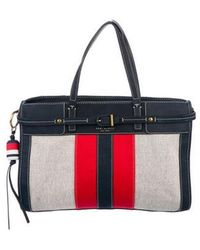 Tory Burch - Striped Canvas & Suede Tote Brass - Lyst