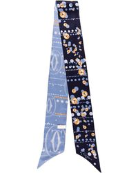 Cartier - Printed Silk Scarf W/ Tags Navy - Lyst