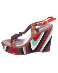 M Missoni - Embellished Wedge Sandals Tan - Lyst