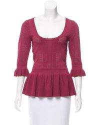 Torn By Ronny Kobo - Three-quarter Sleeve Knit Top W/ Tags Burgundy - Lyst