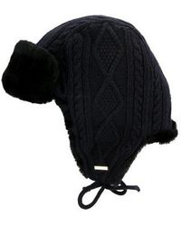 Tory Burch - Cable Knit Trapper Hat Blue - Lyst