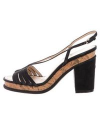 Chanel - Cc Suede Sandals Black - Lyst