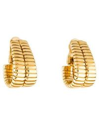 BVLGARI - 18k Tubogas J Hoop Earrings Yellow - Lyst