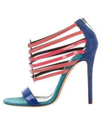 Prabal Gurung - Multistrap Suede Sandals Blue - Lyst