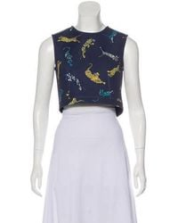 Torn By Ronny Kobo - Sleeveless Crop Top Navy - Lyst