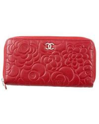 Chanel - Camellia Zip-around Wallet Red - Lyst
