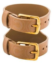 Chanel - Coco Leather Double Buckle Bracelet Gold - Lyst